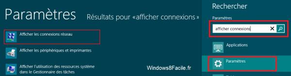 Windows 8 afficher connexions réseaux