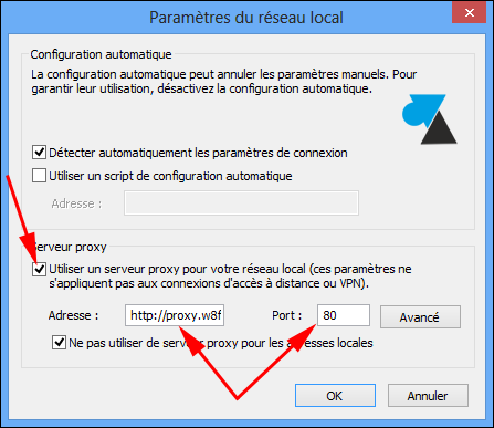 guide comment configurer proxy Internet Explorer 10