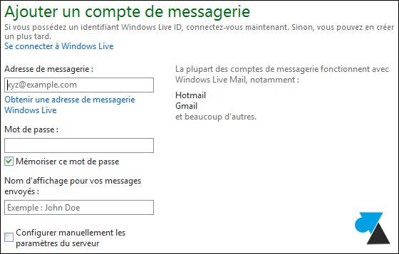 WLM Live Mail tutoriel configurer compte POP SMTP