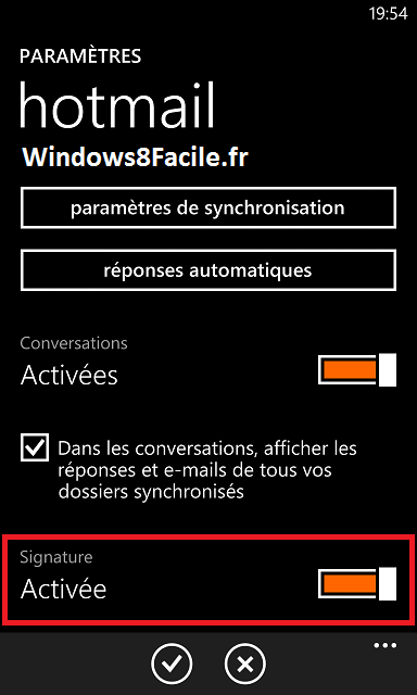 Windows Phone 8 e-mail signature,activer