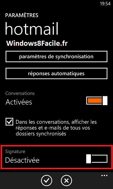 Windows Phone 8 e-mail signature,désactiver