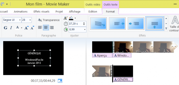 Movie Maker modification générique