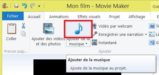 Movie Maker ajout musique