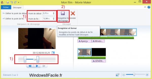 Movie Maker découpage exemple