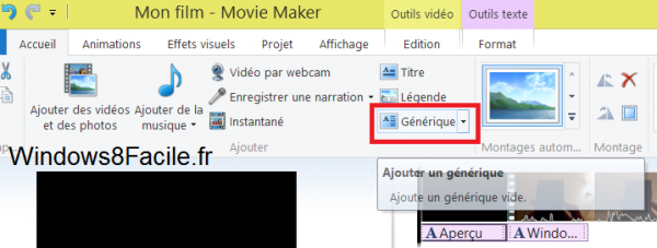 Movie Maker ajout Générique