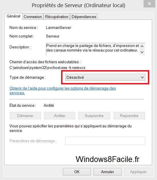 Windows 8 propriété service serveur désactivé