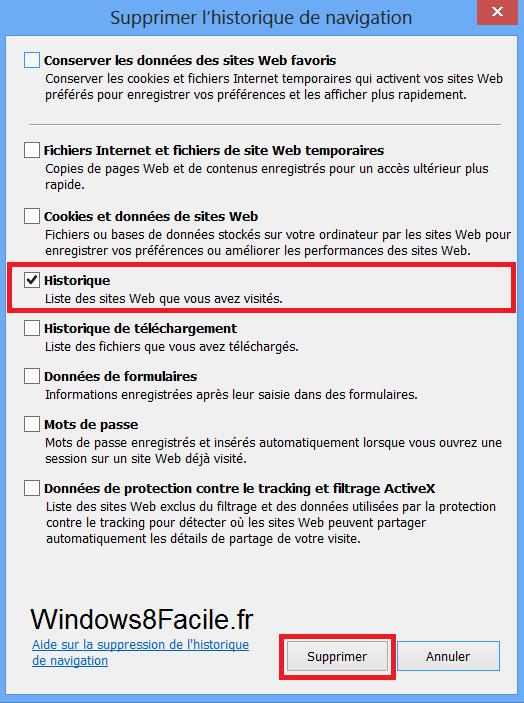 Tutoriel Windows IE10 supprimer historique