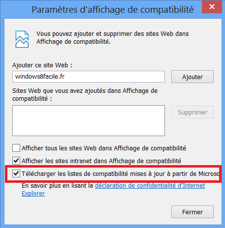 IE10 désactiver mise à jour automatiques fichier compatibilité flash coché