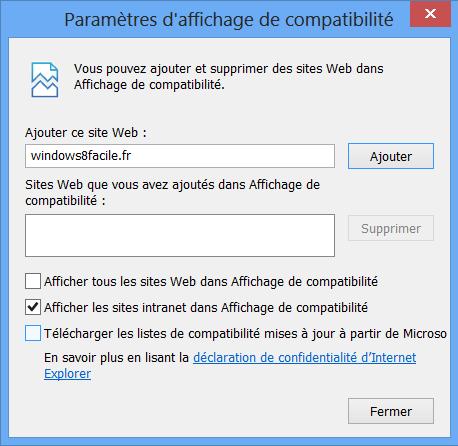 IE10 désactiver mise à jour automatiques fichier compatibilité flash