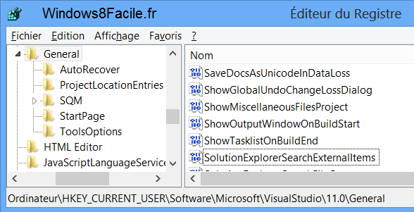 Visual Studio 2012 menu majuscule regedit