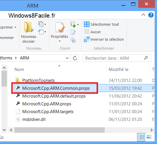 Visual Studio 2012 compilation ARM