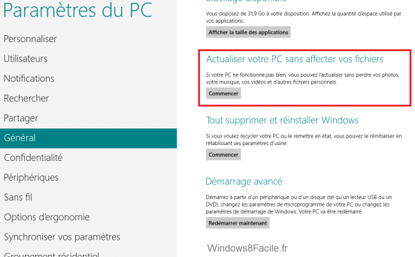 Windows 8 Actualisation