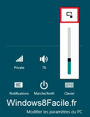 Windows 8 paramètres écran rotation bloquée
