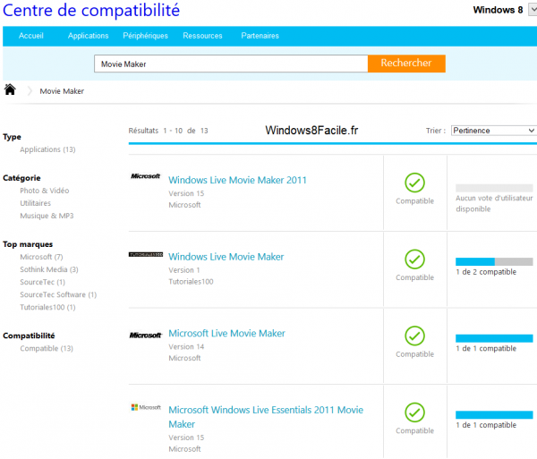 Windows 8 compatibilité movie maker