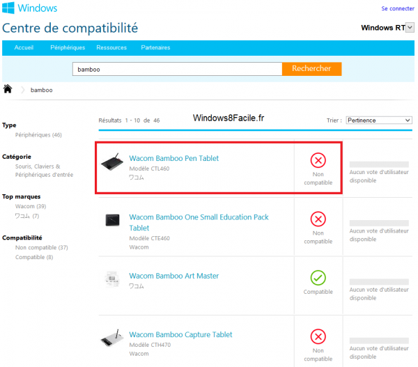 Windows 8 RT compatibilité Wacom Bamboo