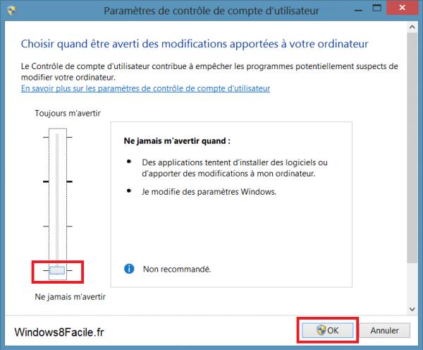 désactiver UAC Windows 8 niveau minimum