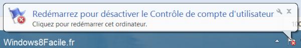 Windows 8 redémarrage requis UAC