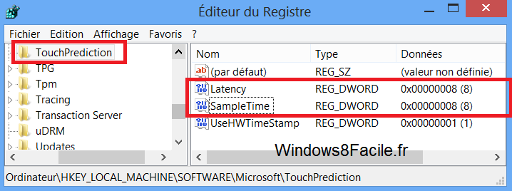Windows 8 Surface TouchPrediction registre