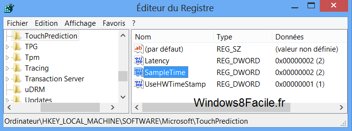 Windows 8 TouchPrediction après modifications