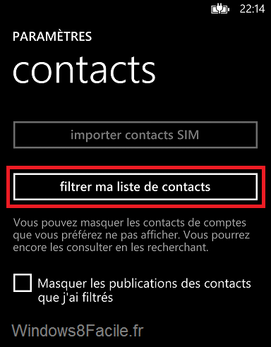 Windows Phone Filtrer ma liste de contacts