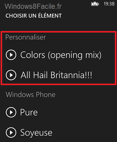 Windows Phone sélection sonnerie