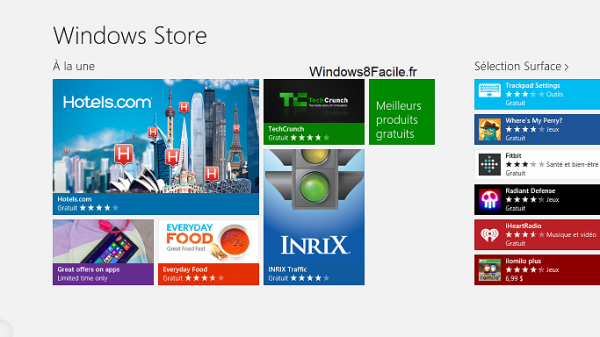 Windows Store toutes applications accueil