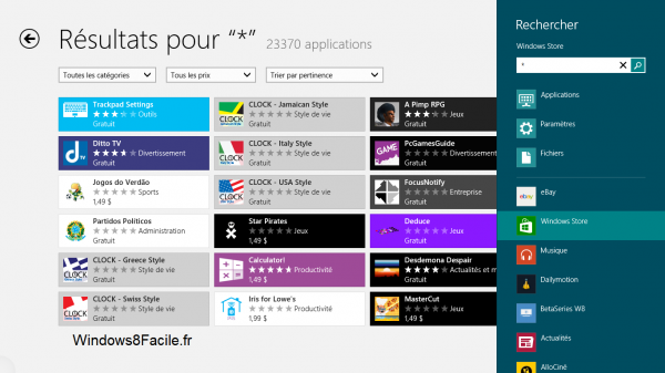 Windows Store résultats toutes applications