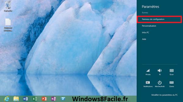 Accès Windows 8 Panneau de configuration 2/2