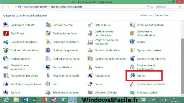 Windows 8 Panneau de configuration