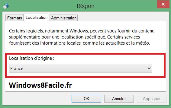 Windows 8 Région Localisation