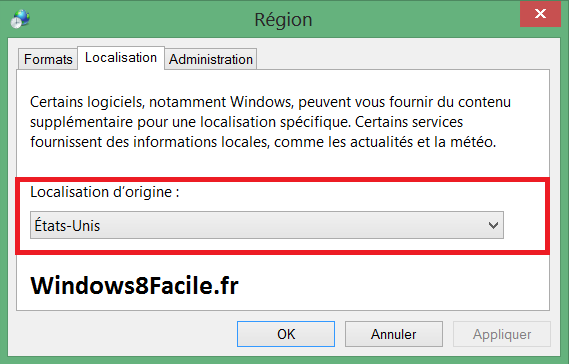 Windows 8 Région Localisation Etats-Unis