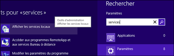 ouvrir service Windows 8