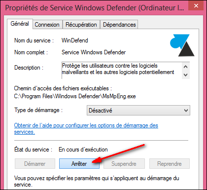 service Windows Defender W8