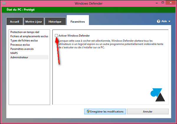 installer logiciel antivirus Windows Defender desactiver tutoriel Win8