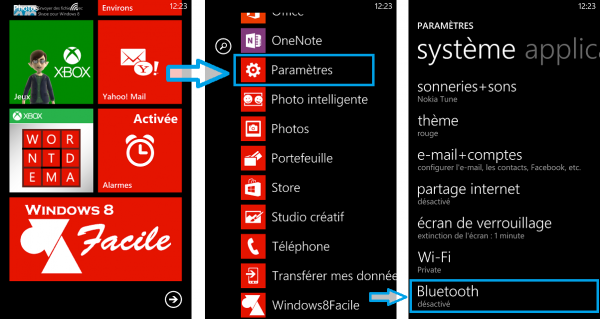Windows Phone activer Bluetooth