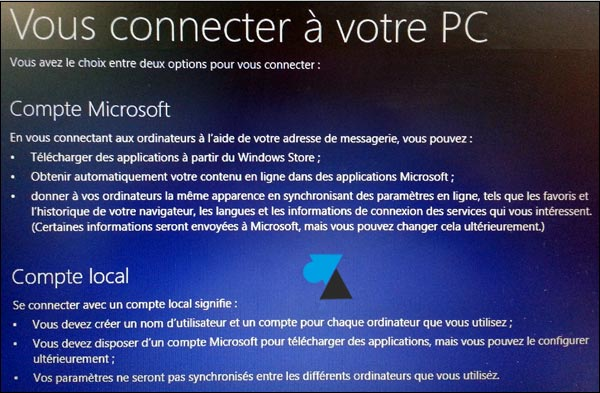 premier demarrage Windows 8 compte local compte Microsoft