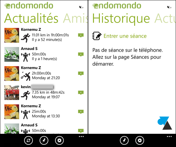 application Endomondo sportif WP8