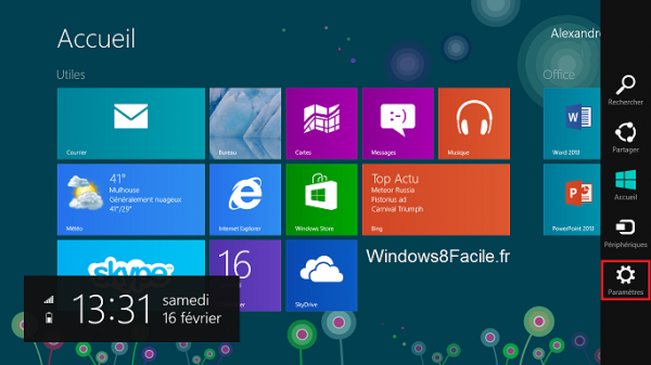 Windows 8 charm bar