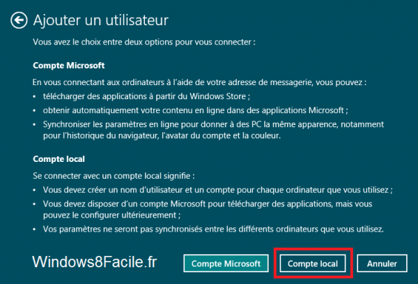 Windows 8 compte local