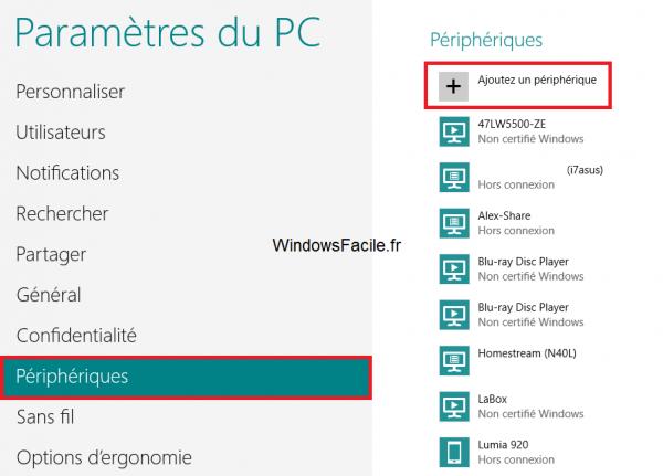 Windows 8 Périphériques