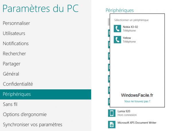 Windows 8 Ajouter périphérique