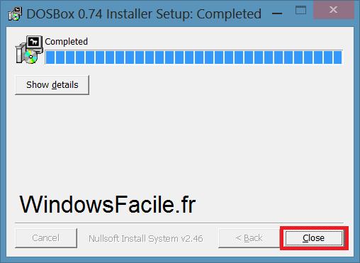DOSBox installation terminée