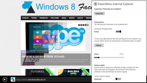 Windows 8 IE10 paramètres