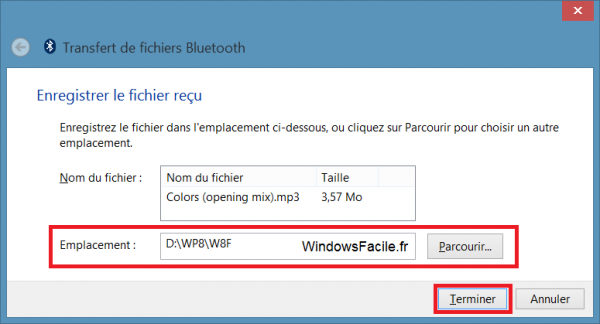 Windows 8 recevoir fichier bluetooth fin
