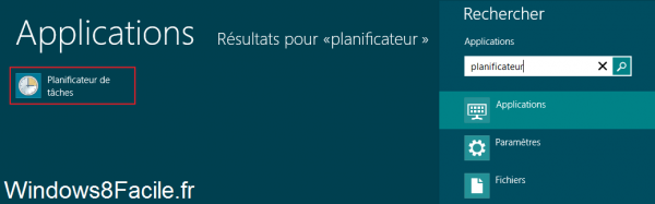 Windows 8 plantificateur de tâches