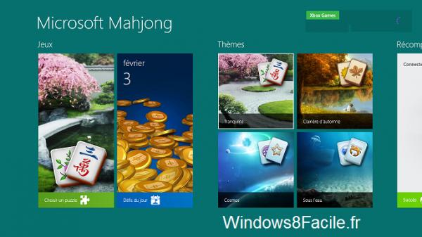 Microsoft Mahjong accueil