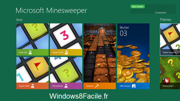 Microsoft Démineur Minesweeper accueil