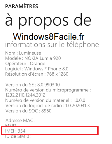 Windows Phone IMEI a propos