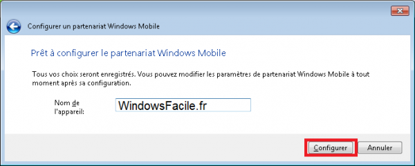 WindowsMobile Synchronisation Nom