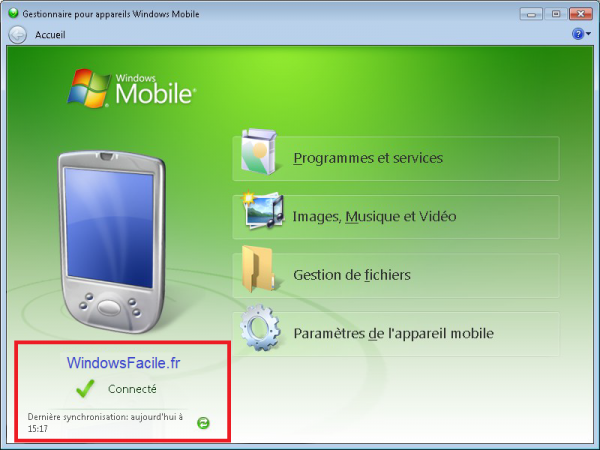 gestionnaire windows mobile 6.5